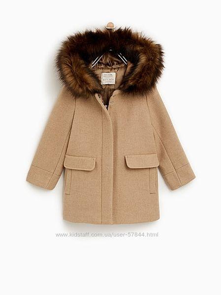 Шерстяное пальто zara, утепленное.