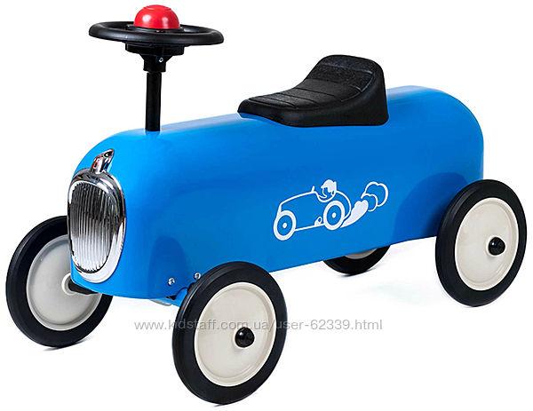 Винтажная машинка-каталка Baghera Racer, синяя - арт. 829