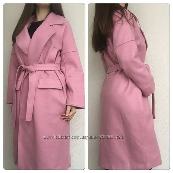 Пальто халат оверсайз кокон бойфренд на запах цвет пыльной розы