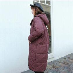 Пальто стеганое осень-зима кокон оверсайз батал марсала летучая мышь