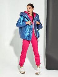 Яркая стеганая куртка пуффер перламутровая 4 цвета