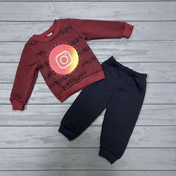 Теплые костюмы на флисе для  мальчиков 1-2-3 года Турция