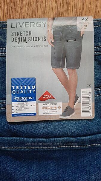 Фирменные, качественные мужские джинсовые шорты размер 50 и 58 Livergy