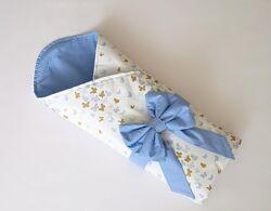 Конверт-одеяло на выписку новорожденного летний, трансформер, подушечка