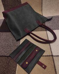 Кожанная сумка шоппер, ручная работа