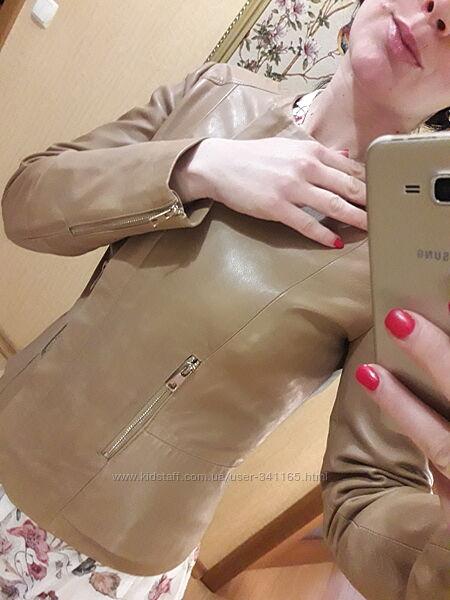 Куртка модель косуха кожаная натуральная кожа  Mango