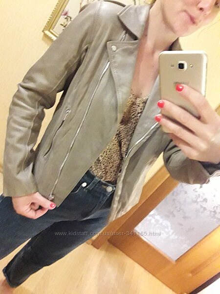 Куртка кожаная натуральная кожа zara Л