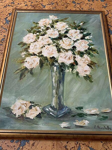 Авторская работа картина Розы в стекле. Л. Колядова. Холст. Масло. Рама.