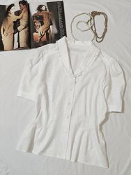 Нежная белая  рубашка с вышивкой и кружевом  ST. MICHAEL Англия  UK16