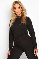 Новая стрейчевая блузка, топ с кружевным деталями Boohoo размер 18-20