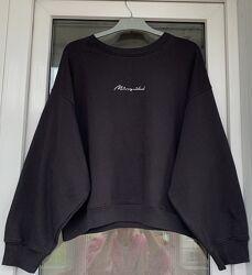 Missguided чёрный оверсайз свитшот с объёмными рукавами С-М