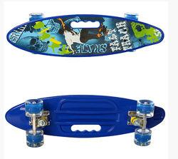 Скейт пенни борд Penny board колеса светятся 0461-2 синий