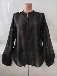 Шикарная шифоновая блуза оверсайз  со спущенными рукавами Mango.