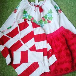 К красная юбка с розами, вишиванка, кофта в полоску 122/128 см