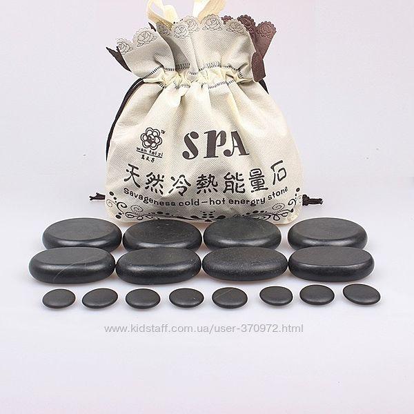 Набор базальтовых камней для стоунтерапиии 20 шт с термонагревателем.