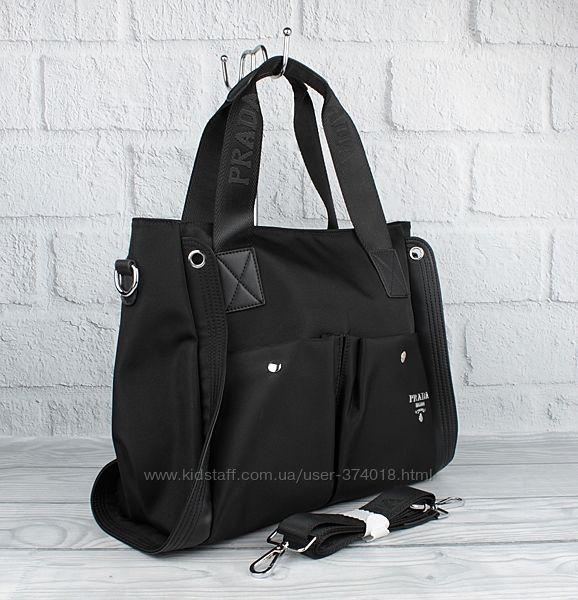 Женская сумка prada 81103 черная текстильная большая