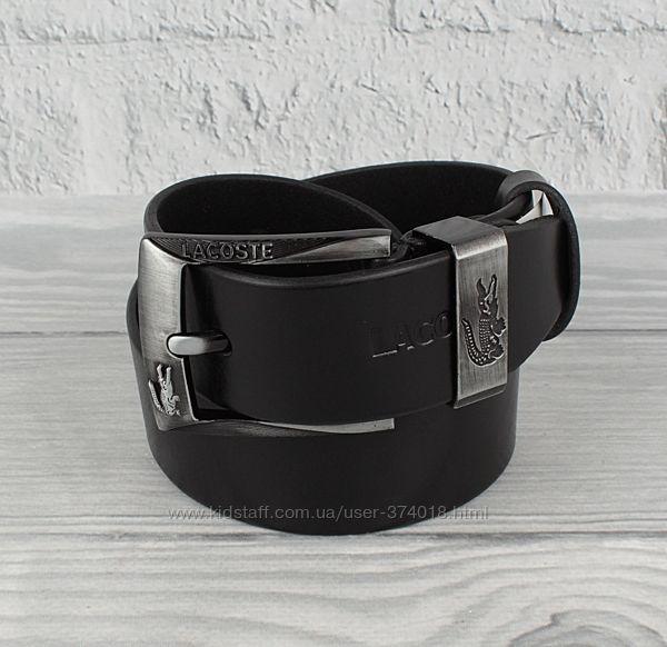 Кожаный ремень под джинсы lacoste 8208-405-1 черный, 40 мм