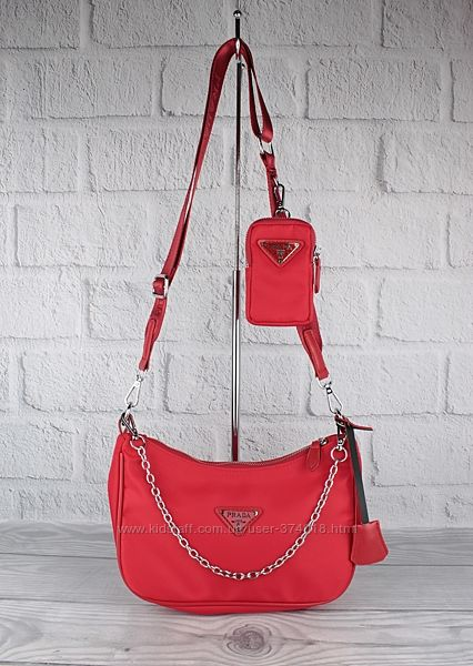Стильная сумочка prada 6679 текстильная с кошельком на ремешке, расцветки