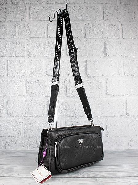 Модный клатч, сумочка через плечо velina fabbiano 592107-3 черная с широким