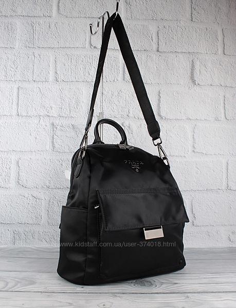 Модный городской рюкзак prada 8063 черный, текстильный