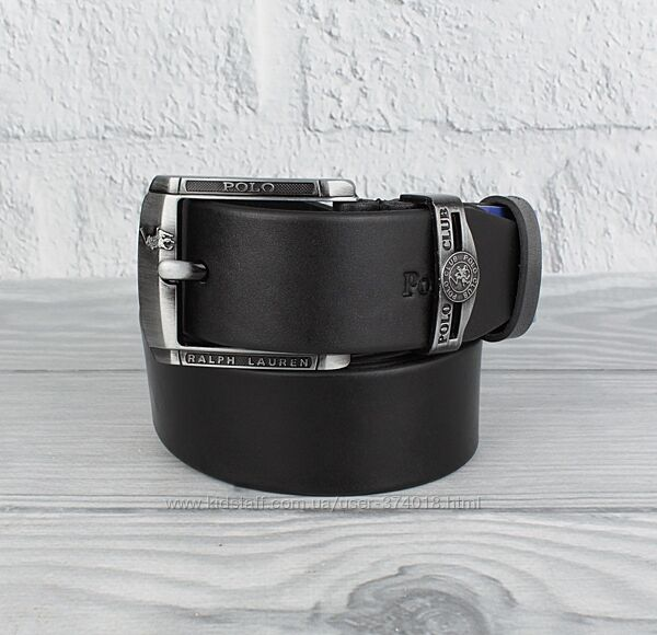 Кожаный ремень под джинсы polo 8208-409 черный, 40 мм