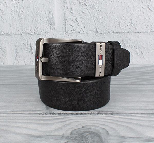 Кожаный ремень под джинсы th 8208-408-2 черный флотар, 40 мм