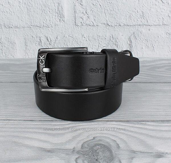Кожаный ремень под джинсы ck 8208-403-2 черный, 40 мм