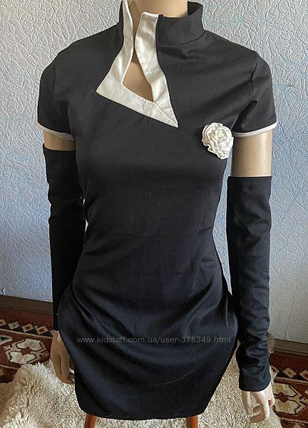 Платье классического кроя с митенками. 44-46рр