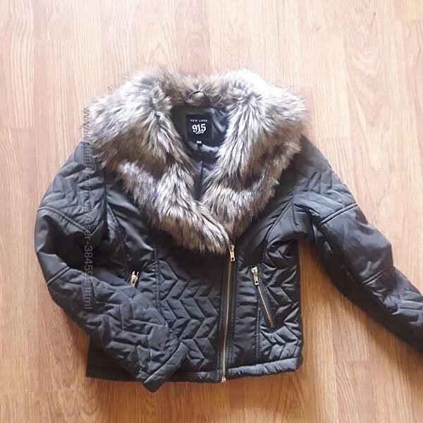 Деми куртка для девочки 10- 11 лет , косуха , темный хакки молния мех ориги