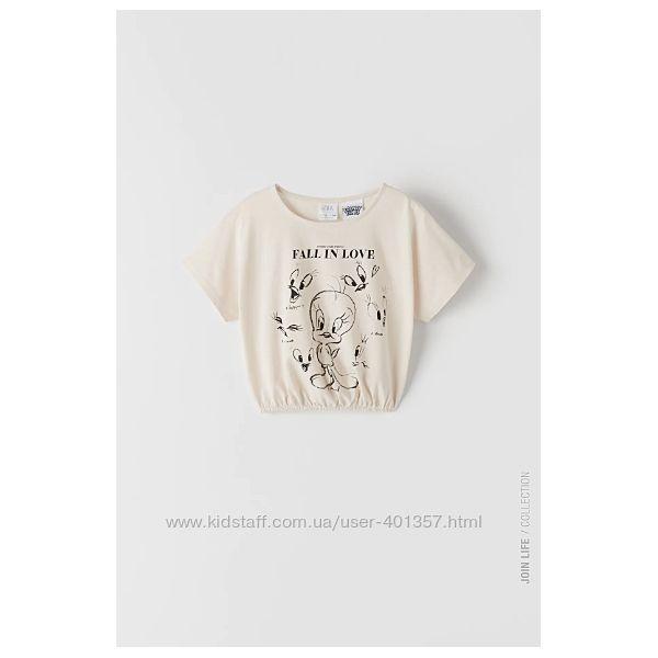 Zara. Стильная футболка TWEETY LOONEY TUNES. Размеры 6  7