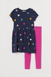 H&M. Комплект для девочки. Платье лосины. Размеры 116  134