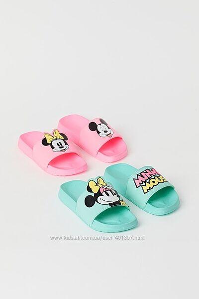 H&M. Яркие красивые шлепанцы с Minnie Mouse. Размеры