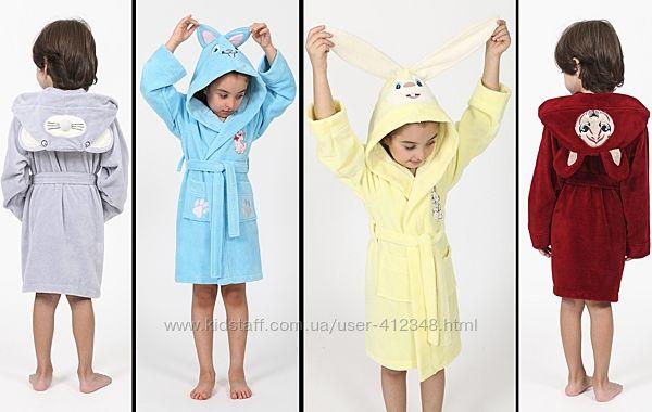 Nusa Халат детский с капюшоном, ушками и вышивкой 3-4, 5-6, 7-8 лет, Турция