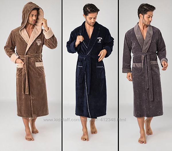 Nusa Халаты мужские бамбуковые, велюровые, махровые с капюшоном и без