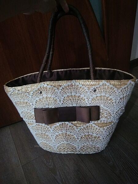Роскошная плетёная сумка с кружевом