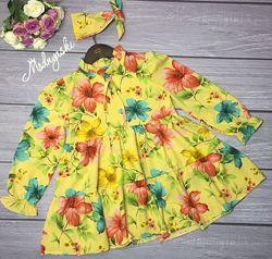 Яркие стильные нарядные платья для девочек в расцветках