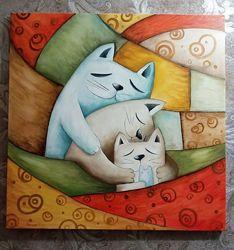 Картина маслом Кото-сімейка 60х60