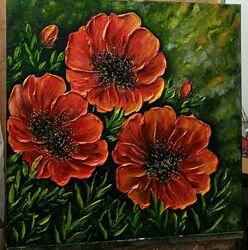 Картина маслом Квіти 60х60