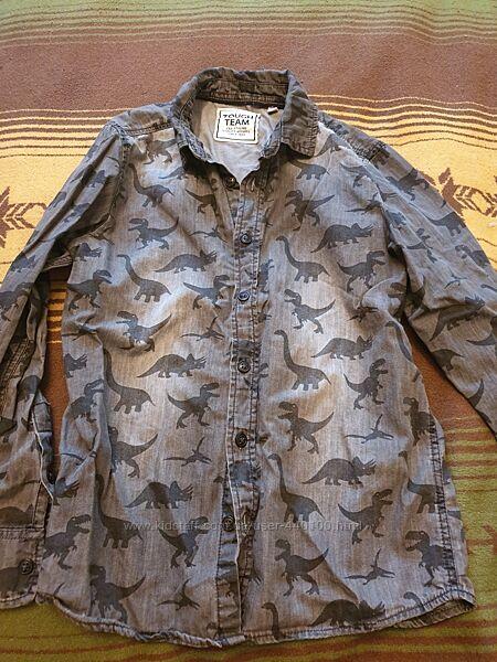 Рубашка с динозаврами рост 134