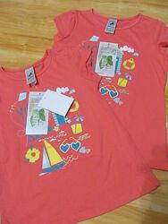 Новые  футболочки C&A на девочку рост 104,110,116