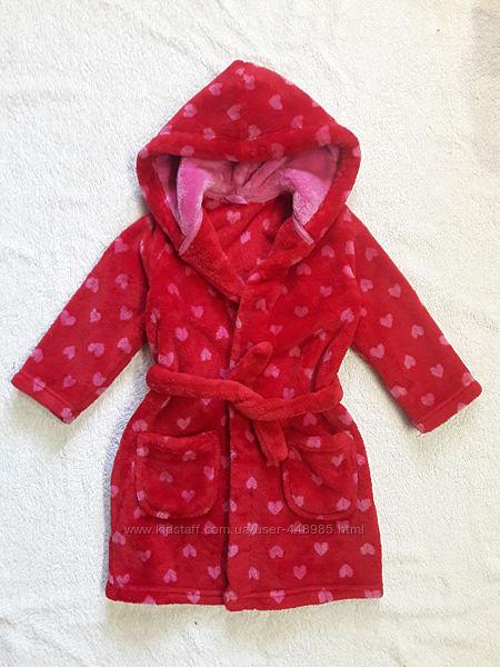 Мягусенький махровый халат на 2 года в сердечках
