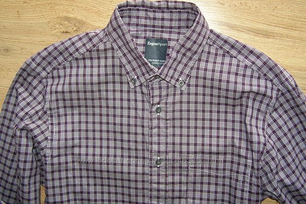 Zegna Sport мужская рубашка 100 хлопок M-L-размер