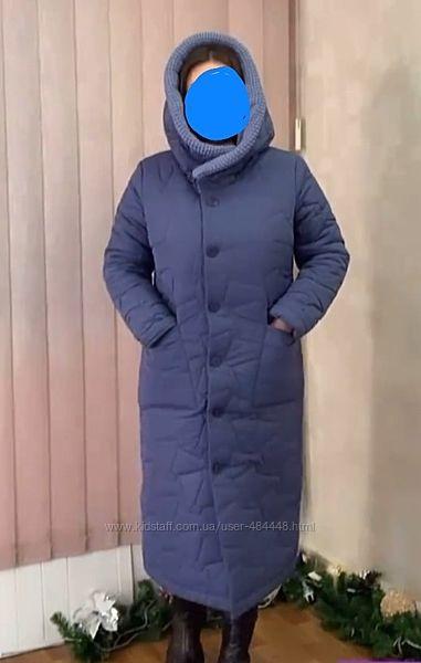 Пальто-одеяло с трикотажным воротником р.52-54