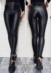 Штаны женские теплые кожаные на флисе Kors