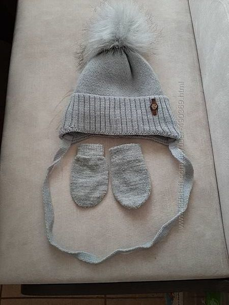 Новая детская зимняя шапка шерсть, на флисе