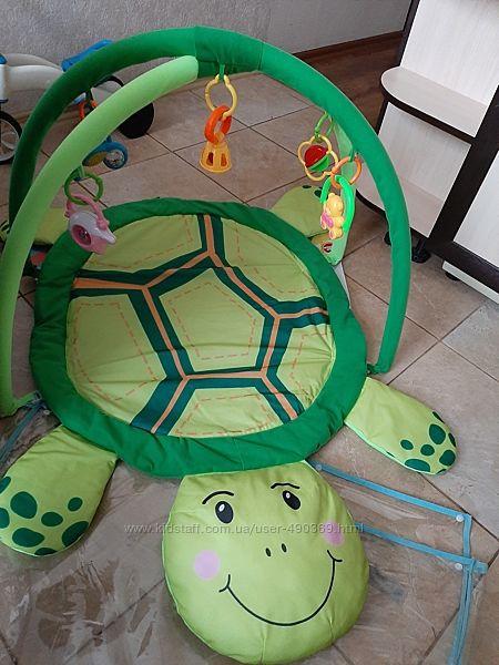 Развивающий коврик для младенца мягкая черепаха, дуги с подвесками