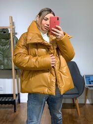 Дутая объемная куртка из эко-кожи. Выбор цвета.