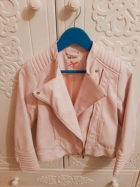 Курточка косуха на девочку розовая