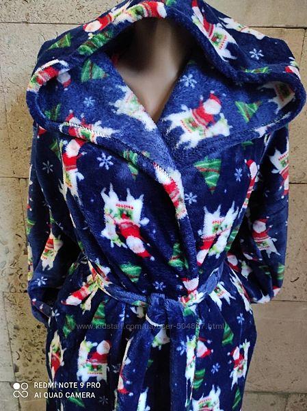 Детские и подростковые теплые халаты для мальчиков и девочек от 122-164см