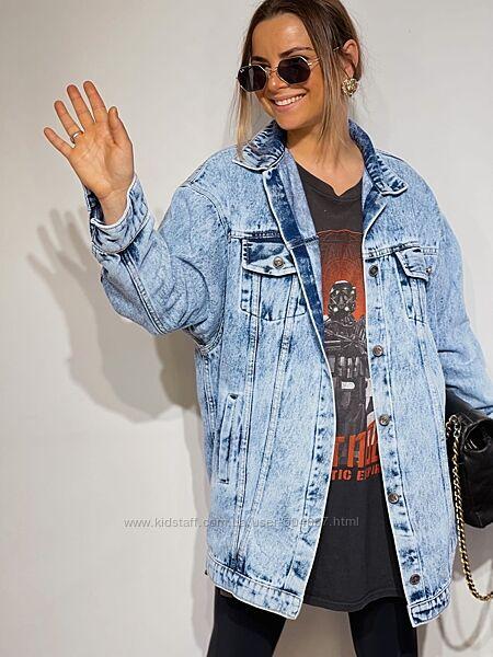 Джинсовая удлиненная куртка С-М, Л-ХЛ голубая и серая